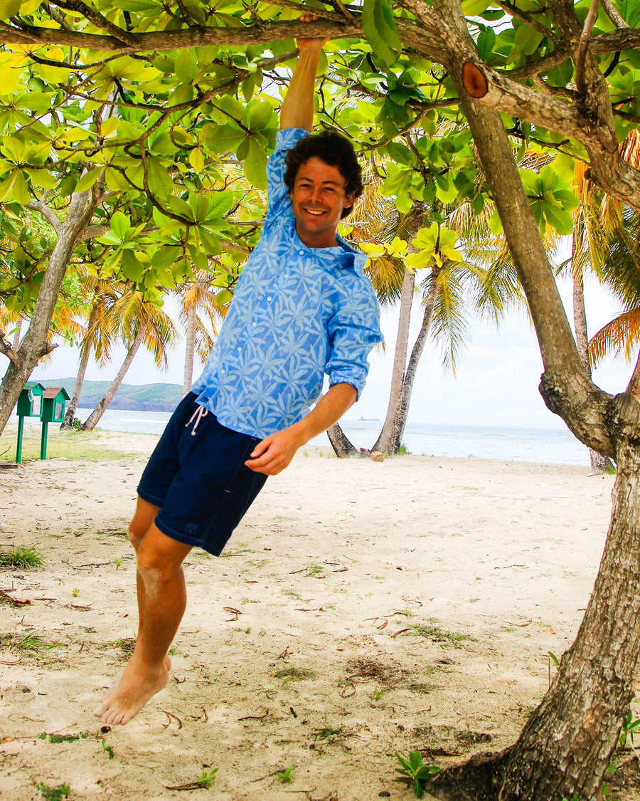 Mens Linen Shirt : BANANA TREE - BLUE designer Caribbean Resortwear, Pink House Mustique
