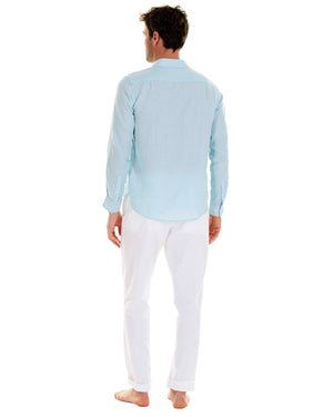 Mens designer Linen Shirt by Lotty B for Pink House Mustique in plain Pale Blue, model back