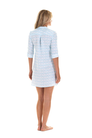 Womens flared Decima dress in pale blue Guava print, vacation wear by Lotty B Mustique