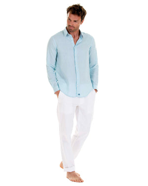 Mens designer Linen Shirt by Lotty B for Pink House Mustique in plain Pale Blue, model front