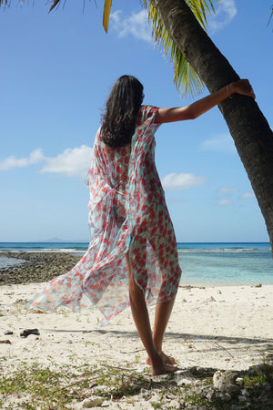 Silk Ellie Kaftan: FLAMBOYANT FLOWER - ORANGE designer Lotty B Mustique lifestyle Lagoon Bay