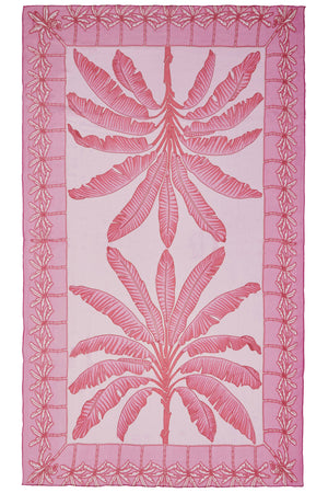 Chiffon silk sarong in Banana Tree pink design by Lotty B Mustique
