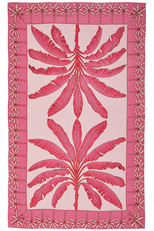 Pure silk sarong in Banana Tree pink design by Lotty B Mustique luxury resortwear