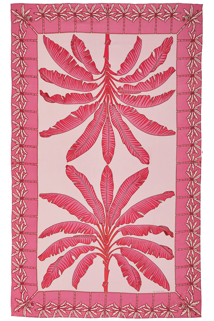 Pure silk sarong cover up in Banana Tree pink design by Lotty B Mustique style with matching shirred silk top