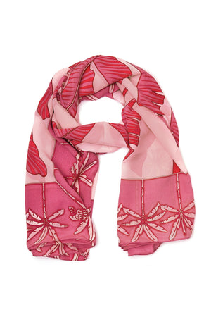 Large pure silk scarf in Banana Tree pink design by Lotty B Mustique