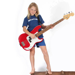 Childrens unisex T shirt: NAVY - WHITE MUSTIQUE applique - Music Studio