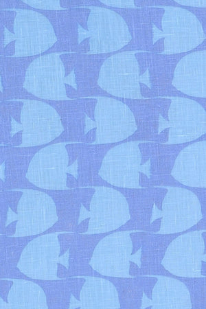 FISH - TURQUOISE fabric swatch designer Lotty B Mustique