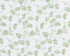 FLAMBOYANT FLOWER - GREEN Linen Fabric designed by Lotty B for Pink House Mustique British designer fashion & interiors