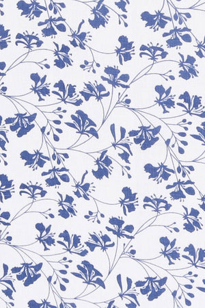 FLAMBOYANT FLOWER - NAVY linen swatch, designer Lotty B Mustique