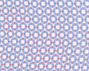 LIFE RING - BLUE / RED Linen Fabric designed by Lotty B Mustique for the Pink House Mustique designed by Lotty B for Pink House Mustique British designer fashion & interiors