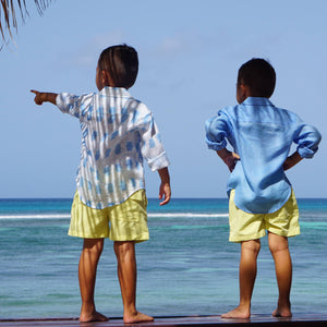Pure linen designer childrens shirts Beetle blue by Lotty B Mustique kids holiday beachwear
