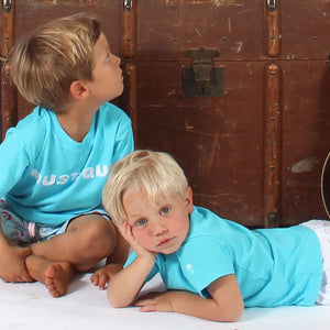 Childrens unisex T shirt: TUQUOISE - WHITE MUSTIQUE applique - Mini Musician