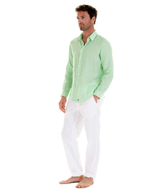 Mens green casual shirt worn with white linen trousers by designer Lotty B for Pink House Mustique