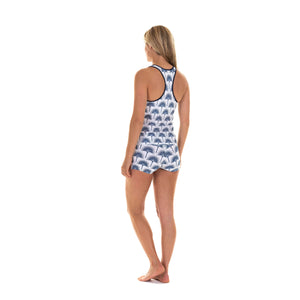 Sports Shorts back worn with matching racer back top : FAN PALM NAVY designed by Lotty B for Pink House Mustique