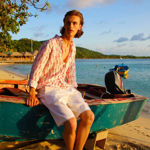 Mens Linen Shorts : CLASSIC WHITE designer Lotty B Mustique beach holiday styles