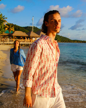 Mens Linen Shirt: GECKO - RED