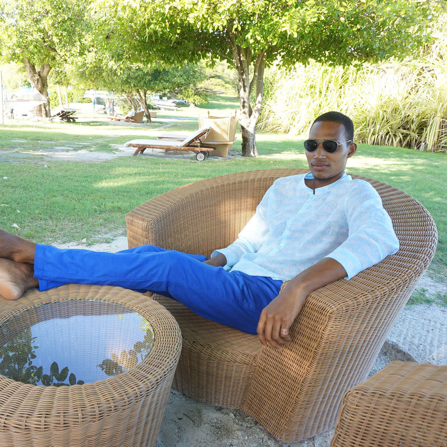 Mens Linen Trousers : DAZZLING BLUE designer Lotty B for Pink House Mustique