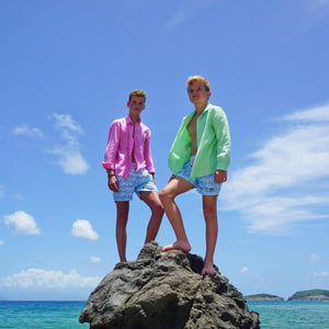Boys swim shorts - Mustique Mule mulicoloured by Lotty B for Pink House, climbing rocks