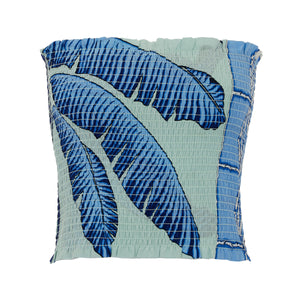 Elasticated shirred silk bandeau top Banana Tree Blue print by designer Lotty B Mustique