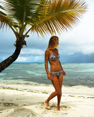 Womens Triangle Bikini : BANANA TREE - NAVY Tropical swimwear Mustique holiday style