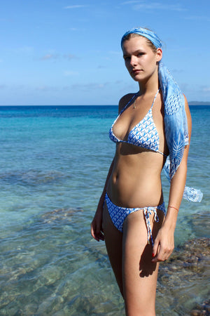 Lotty B Sarong in Silk Chiffon: PINEAPPLE - BLUE scarf Mustique life
