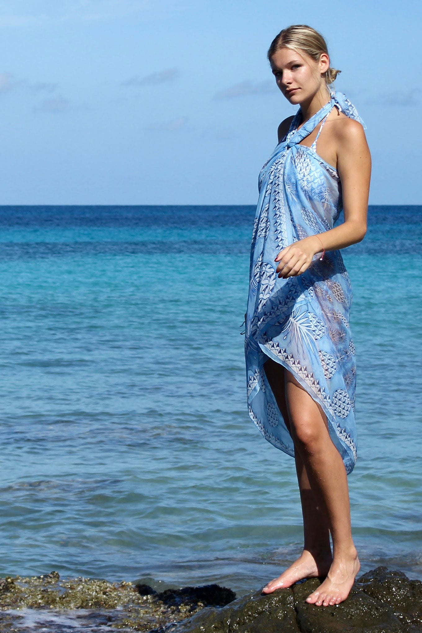Lotty B Sarong in Silk Chiffon: PINEAPPLE - BLUE Mustique rocks