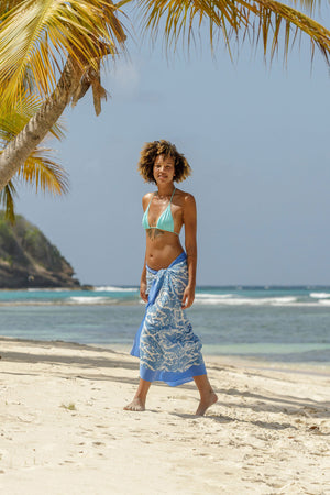Lotty B Sarong in Silk Crepe-de-Chine (Seahorse, Blue) walk on Lagoon beach Mustique life