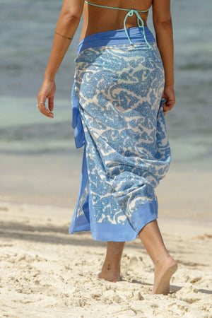 Lotty B Sarong in Silk Crepe-de-Chine (Seahorse, Blue) print detail
