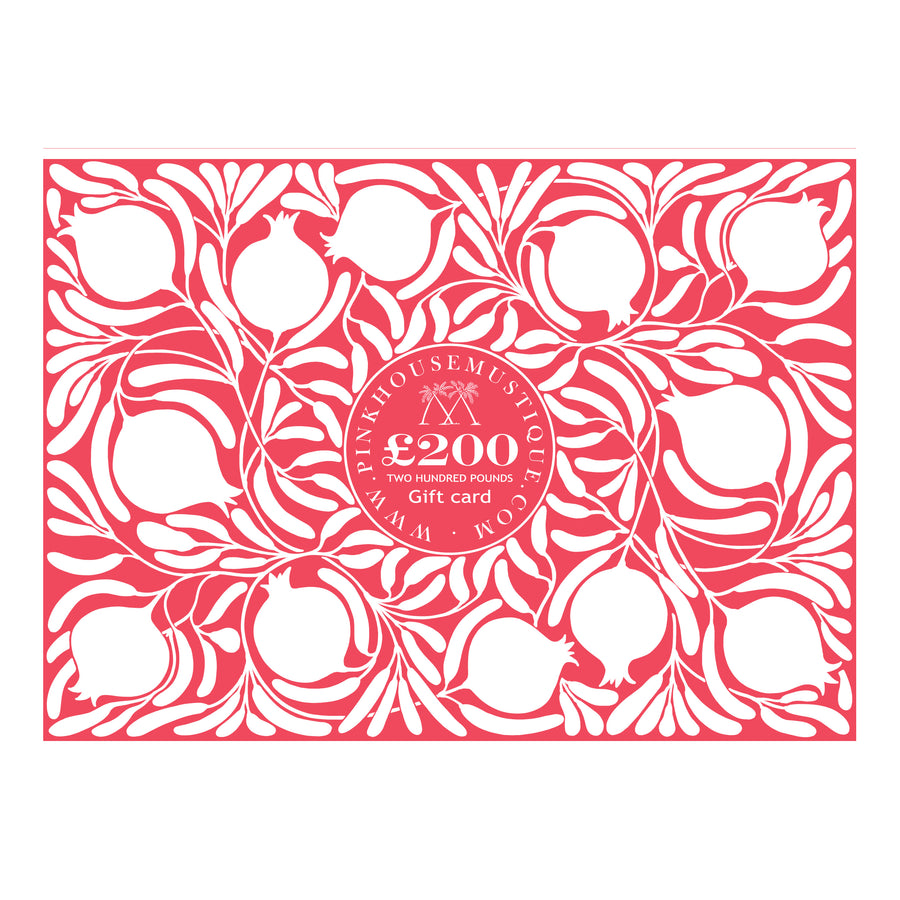 Send love with a Pink House Mustique gift card. No expiry, values available £25, £50, £200, £500 or £1000