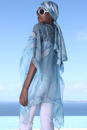Lotty B Short Kaftan in Chiffon (Egret Blue) Mustique style over jeans side