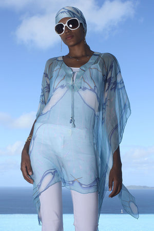 Lotty B Short Kaftan in Chiffon (Egret Blue) Mustique style over jeans front