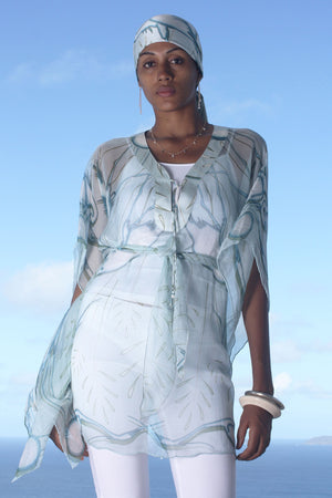 Lotty B Short Kaftan in Chiffon (Egret Lichen) Front