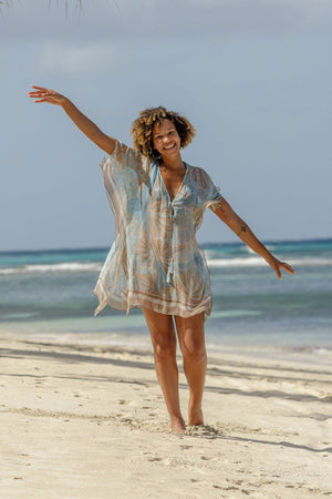 Lotty B Short Kaftan in Silk Chiffon (Sand Dollar Taupe) Mustique beach style
