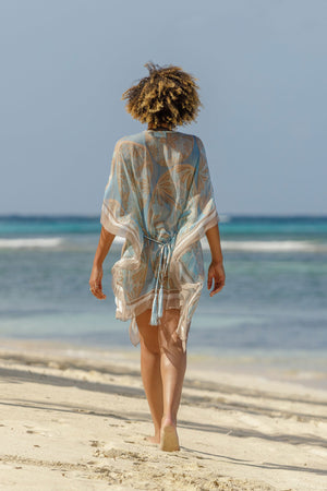 Lotty B Short Kaftan in Silk Chiffon (Sand Dollar Taupe) Lagoon beach Mustique