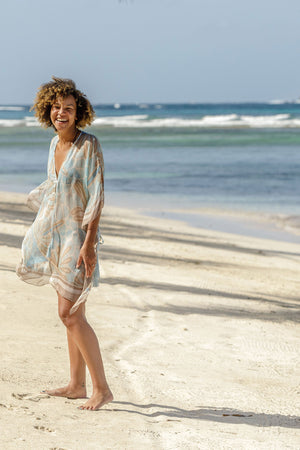 Lotty B Short Kaftan in Silk Chiffon (Sand Dollar Taupe) Mustique styl