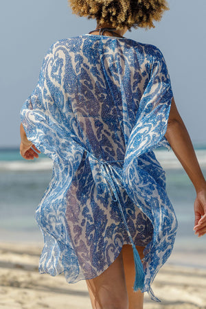 Lotty B Short Kaftan in Chiffon (Seahorse, Blue) back tie chiffon detail beach style