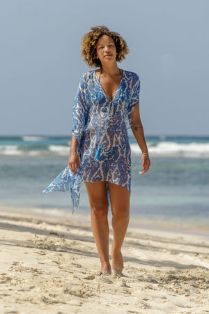 Lotty B Short Kaftan in Chiffon (Seahorse, Blue) Mustique luxury beach style