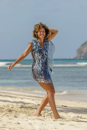 Lotty B Short Kaftan in Chiffon (Shark, Grey) beautiful day on Mustique beach