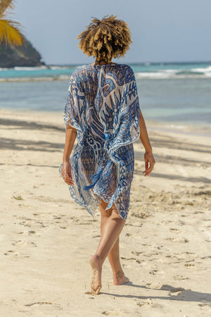 Lotty B Short Kaftan in Chiffon (Shark, Grey) tied at the back Mustique style