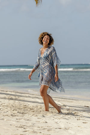 Lotty B Short Kaftan in Chiffon (Shark, Grey) Mustique beach style