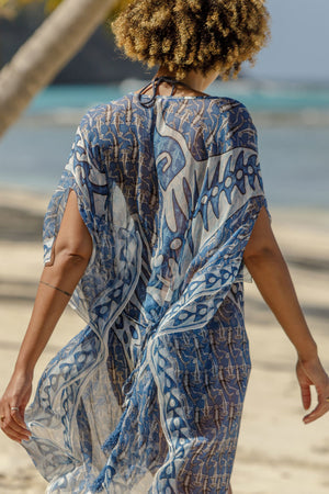 Lotty B Short Kaftan in Chiffon (Shark, Grey) chiffon detail