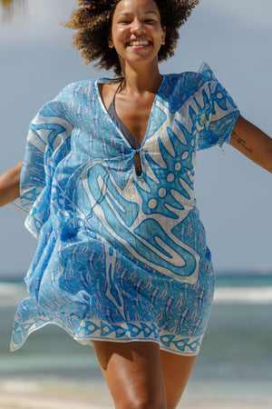 Lotty B Short Kaftan in Cotton (Shark, Blue) Mustique life
