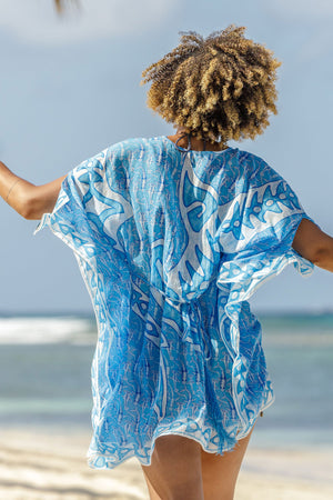 Lotty B Short Kaftan in Cotton (Shark, Blue) tied at the back detail