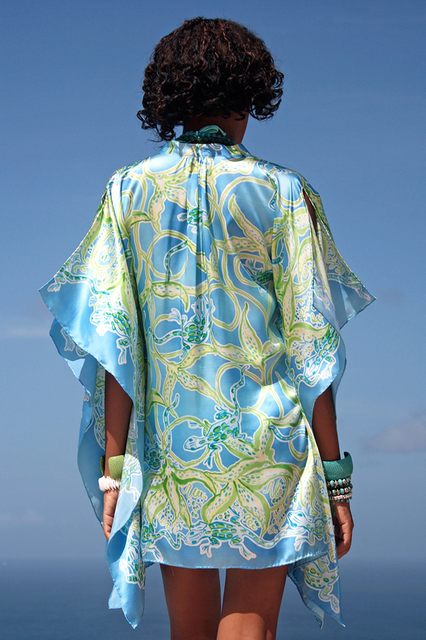 Lotty B Short Kaftan in Silk Charmeuse (Gecko & Vines, blue/green) Back