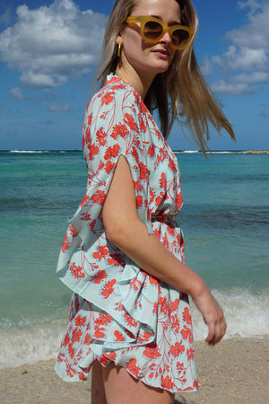 Silk Lotty Kaftan: FLAMBOYANT FLOWER - ORANGE short collared crepe de chine kaftan created by Lotty B Mustique vacation style