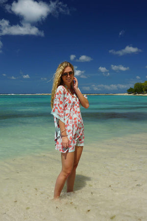 Silk Lotty Kaftan: FLAMBOYANT FLOWER - ORANGE short collared crepe de chine kaftan created by Lotty B Mustique beach cover ups