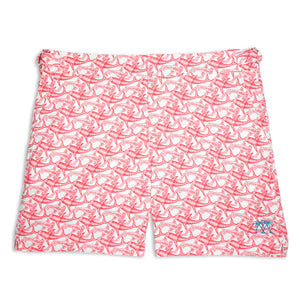 Mens Beach Shorts (Shark Faded Red)