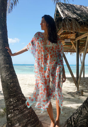 Silk Ellie Kaftan: FLAMBOYANT FLOWER - ORANGE designer Lotty B Mustique beach style Lagoon Bay
