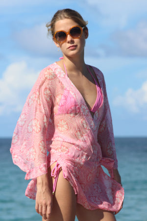 Lotty B Kimono in Silk Chiffon (Sand Dollar Repeat Coral) designer vacationwear Mustique life