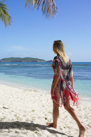 Lotty B Short Kaftan in Silk Chiffon: FAN PALM - NAVY / RED Mustique cover-up